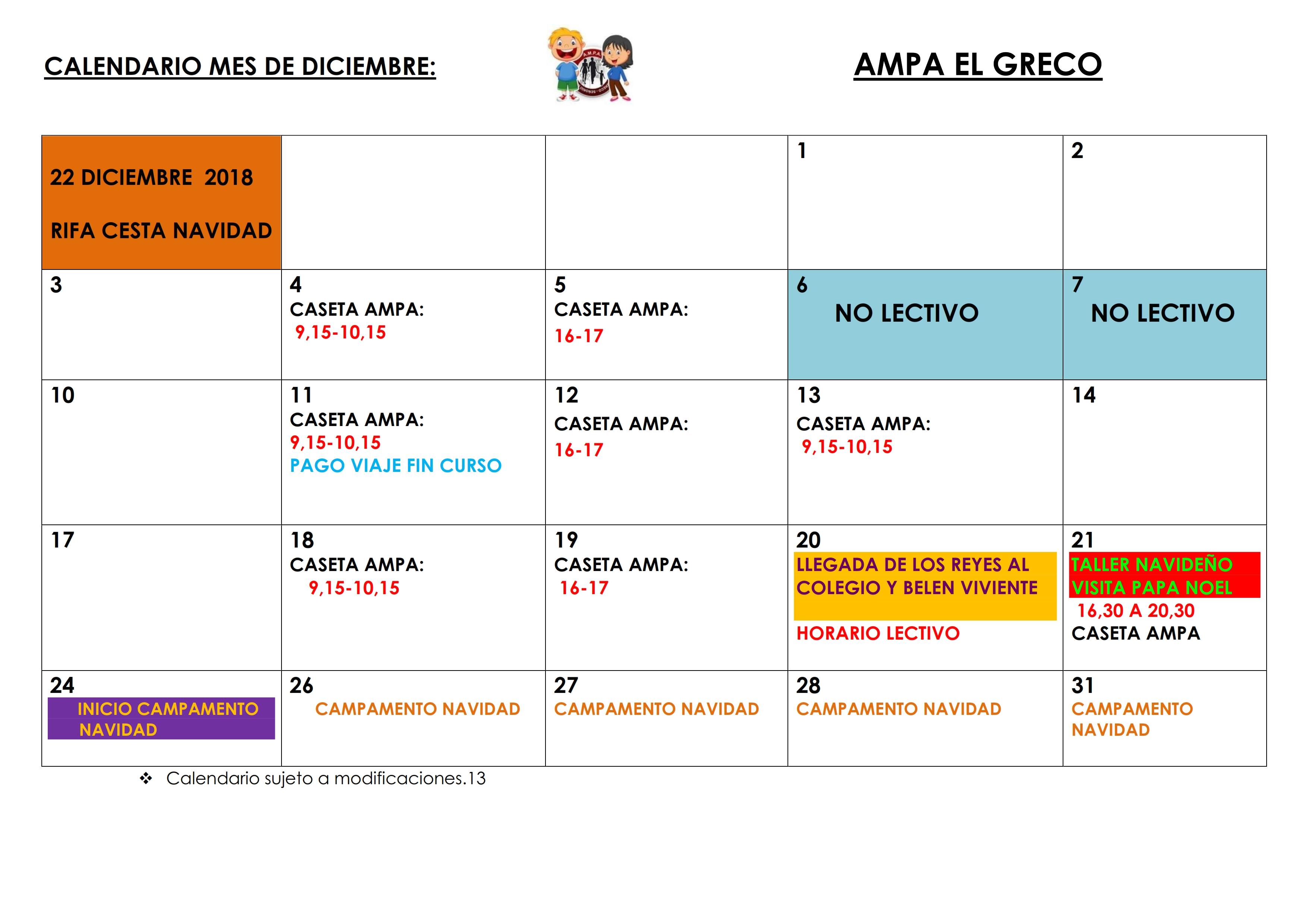 Calendario Diciembre.Calendario Diciembre 2018 Ampa El Greco Illescas